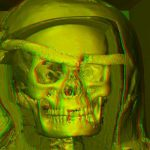 Kopf der Virtuellen Mumie in Rot-Grün-Stereo